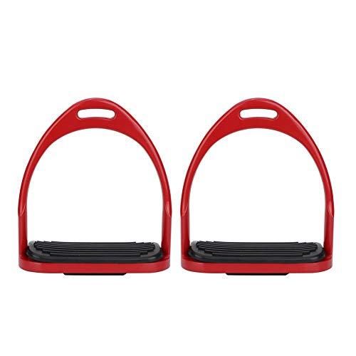 3 Farben Hohe Qualität Steigbügel für Sattel Leichte Sicherheit Pferdesattel Englisch Reiten Flex Fillis Aluminium Casting Farbige Farbe Pferd Steigbügel(rot)