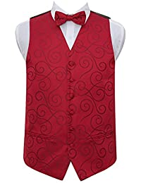 DQT Scroll Mens Wedding Waistcoat Bow Tie Hanky & Cufflinks
