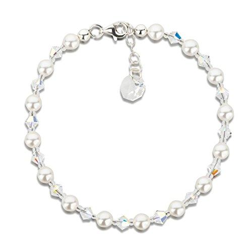 Schöner-SD, Perlen Armband weiß mit funkelnden Swarovski® Kristall und 925 Silberschließe