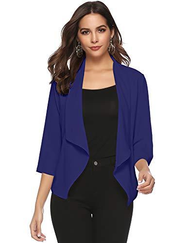 Abollria Damen Chiffon Cardigan Elegant Blazer Leicht Dünn Längere Bolero 3/4 Arm Offene Jacke Navyblau (Festliche Kostüm)