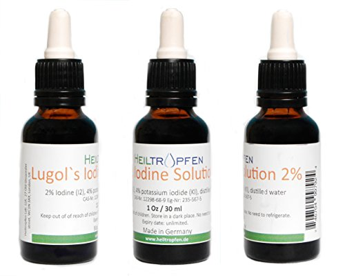 2% Lugol's Iodine Solution, (Three bot.), 3x 1 Oz., Pharmaceutical grade, Made with 2 Percent Iodine and 4% Potassium Iodide Test