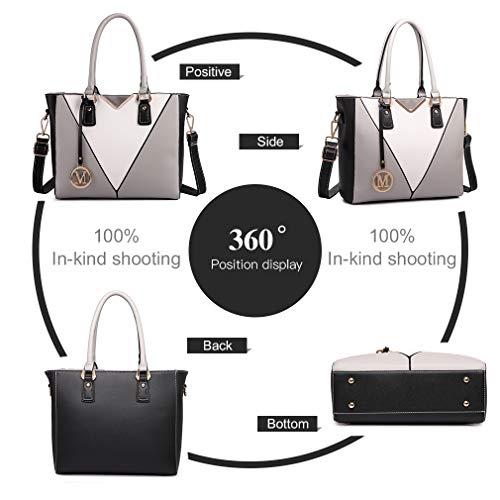 Miss Lulu Leather Look V-Shape Shoulder Handbag Img 3 Zoom