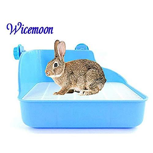 Wicemoon Haustier-WC für Kaninchen, Töpfchen mit doppeltem Netz, verhindert Urin-Spritzer blau