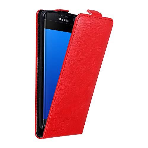 Cadorabo Hülle für Samsung Galaxy S7 Edge in Apfel ROT - Handyhülle im Flip Design mit Magnetverschluss - Case Cover Schutzhülle Etui Tasche Book Klapp Style -