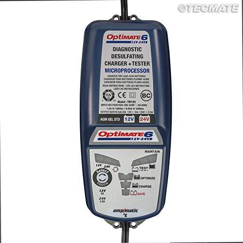 TECMATE Optimate 6 TM194, Caricabatterie con Recupero di Batteria, manutentore e Tester 8 Fasi 5A 12V / 2.5A 24V