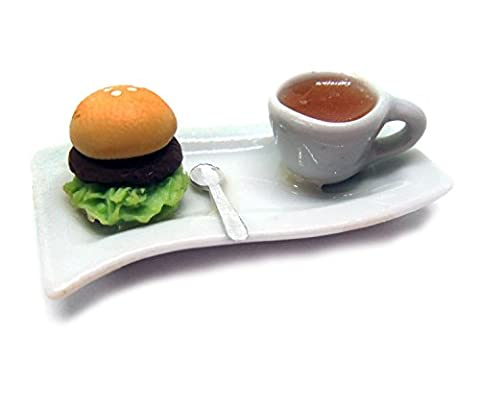 Dollhouse miniature Food,Tiny Food Collectibles (Breakfast berger &tea)