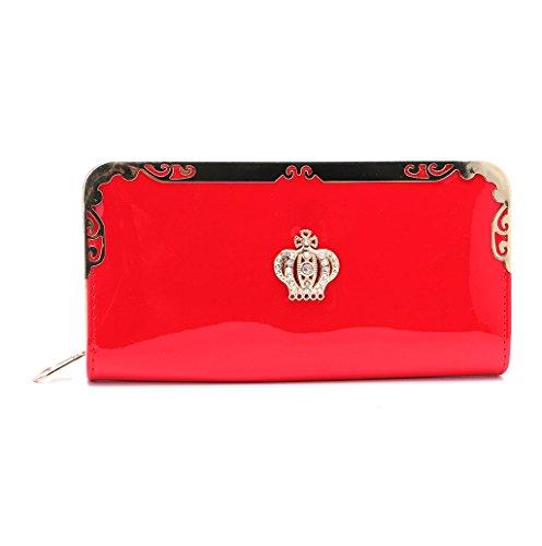 Dairyshop Sacchetti della borsa del supporto della carta del raccoglitore del cuoio della borsa della signora frizione delle donne di modo (azzurro) rosso