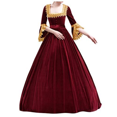 YueLove Frauen Gothic Maxi Kleid Vintage Square Kragen Glocke halben Ärmel Patchwork High Waist Swing Kleider Mittelalter Renaissance Cocktailkleid (Übergröße Dorothy Kostüm)