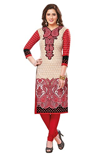 Salwar Studio Women's Red & Beige Cotton Floral, Paisley Printed Unstitched Kurti Fabric (only Kurti Fabric)  available at amazon for Rs.475