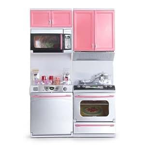 FACILLA® Mini Ensemble dînette jeu jouet armoires cuisinière panoplie rose pour enfant