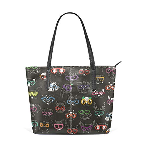 Damen Handtaschen Cartoon Funny Happy Animal Sonnenbrille Tote PU Leder