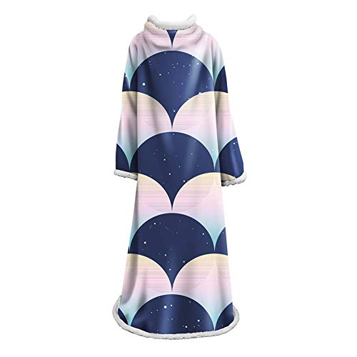 NICEWL Ärmel Decke-Wearable Bademantel Robe Plüschdecke, Handgemachte Erwachsene Faul Haushalt Mantel Kostüm Decke, Winter Super Warmhalten, C (Handgemachte Kostüm Für Erwachsene)