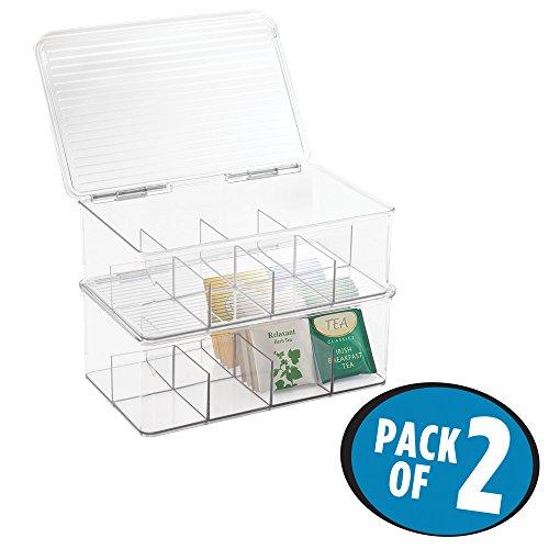 mDesign – Cajas de té (juego de 2) – Práctica caja para guardar infusiones y bolsas de té – Cajas organizadoras apilables – Perfecta como organizador de cocina