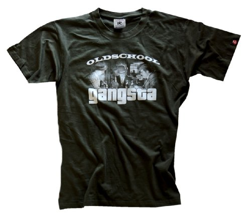 Oldschool Gangsta Gangster (echter Siebdruck handmade in Germany) T-Shirt olive XL (T-shirt Old-school-xl)