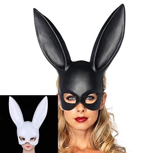 Masquerade Rabbit Mask, Dame Mädchen Party Kaninchen Ohren Maske Halloween Kostüm Langes Ohr Maskerade, Geburtstagsfeier Ostern Halloween Bar Kostüm Cosplay Zubehör, Einheitsgröße (Schwarz)