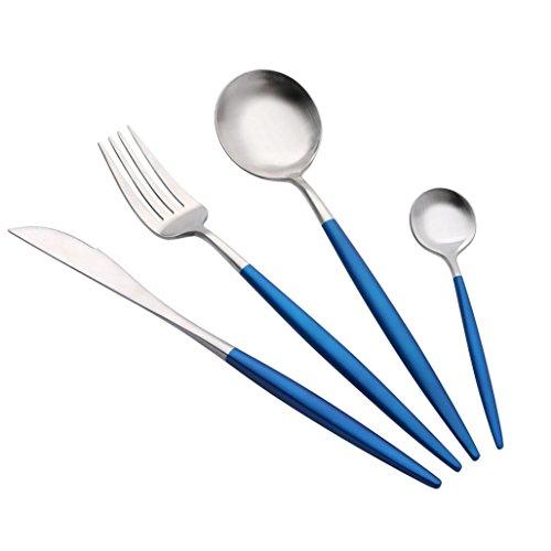 Xshuai Portugal Stil Edelstahl Besteck Gabel Löffel Besteck Geschirr 4 Stücke Sets Gehobenen Geschirr bar/Western Küche Geschirr Werkzeuge art (D) -