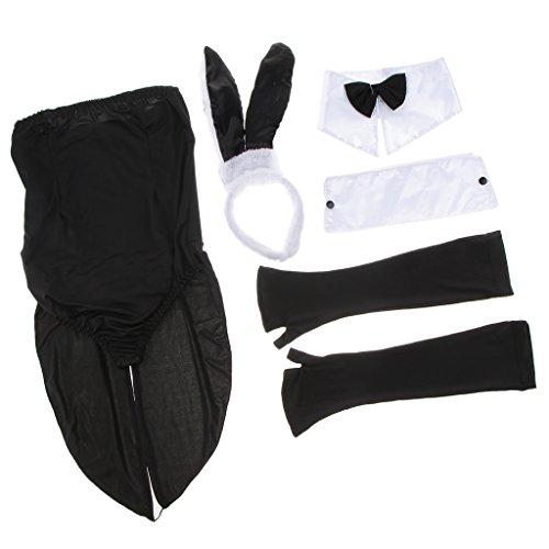 (Unbekannt MagiDeal Charme Hasenkostüm Set Bunnykostüm Kit Cosplay Kostüm Cosply Anzug mit Jumpsuit Kleidung, Hasen Stirnband, Handschuhe, Armmanschette und Krawatte)