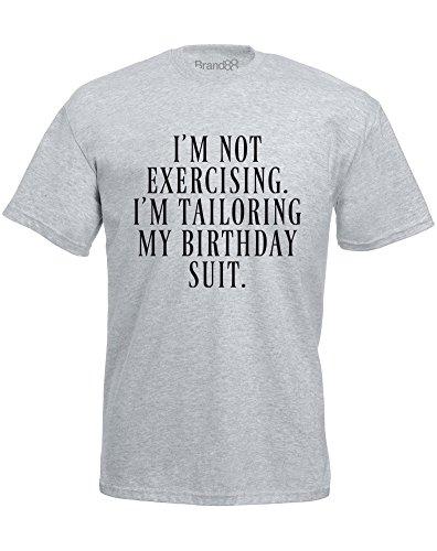 Brand88 - I'm Tailoring My Birthday Suit, Mann Gedruckt T-Shirt Grau/Schwarz