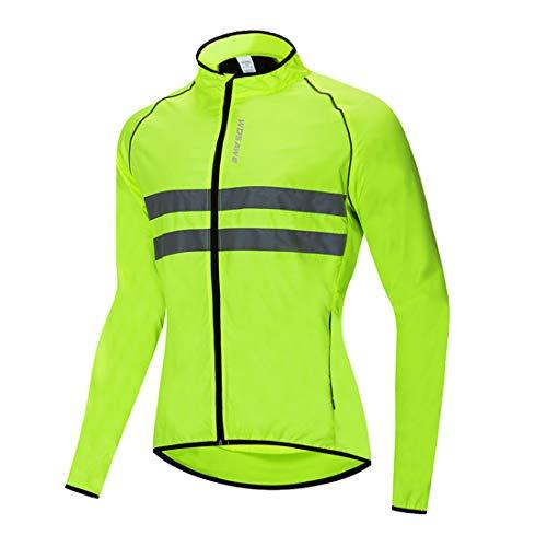 GWELL Herren Radtrikot Langarm Reflektierende Wasserdichte Fahrrad Trikot Shelljacke Radbekleidung Grün XXXL
