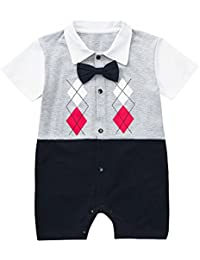 18f99dcae85 luhan Baby Romper Newborn Baby Boys Short Sleeve Beard Bow Tie Gentleman  Print Romper Jumpsuit Outfit