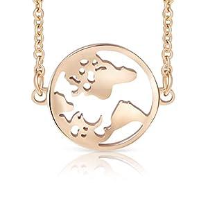Ansané | Neu – Weltkugel Armband – 18 Karat Echtgold Plattierung | in Silber, Rose, Gold | 16cm + 5cm (extra) | hochwertige Schmuckschachtel