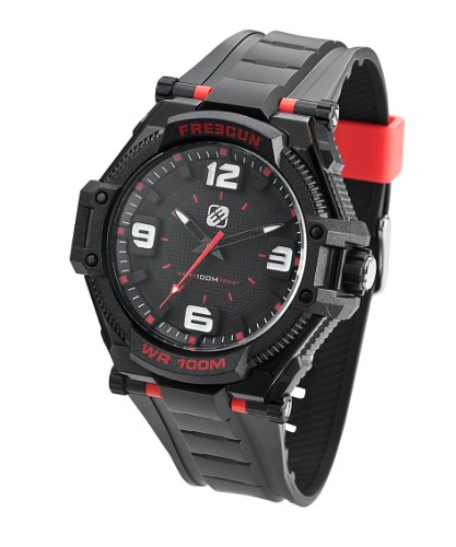 7f6561a5a5da0 Freegun - EE5094 - Montre Homme - Quartz Analogique - Cadran Noir - Bracelet  Plastique Noir