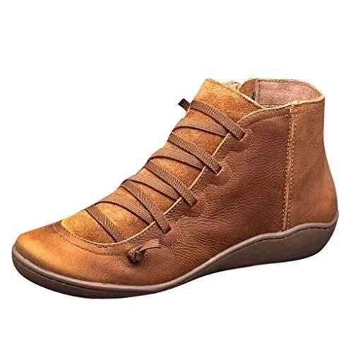 Dorical Übergrößen Schnürstiefeletten für Damen,Frauen Biker Boots Schnür Stiefel Kunstlederstiefel Damenstiefel mit Reißverschluss Gr 35-43(Braun,37 EU)