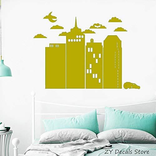 Night City Adesivo in vinile Fumetti Interni per la casa Decorazione murale Camera da letto per bambini Murali Articoli per la casa Nuvole rimovibili Decalcomanie da muro Auto color-2 84 X 116 CM