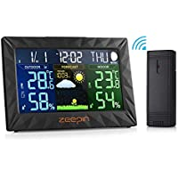 Zeepin Wireless Weather Station,Indoor Outdoor Thermometer Color Home Alarm Clock with Temperature and Humidity Monitor, Large Display Digital Tabletop Hygrometer Outdoor Sensor