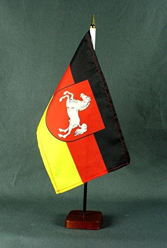 Tischflagge Niedersachsen 15x25 cm mit Tischflaggenständer 37 cm aus Holz, sehr standfest