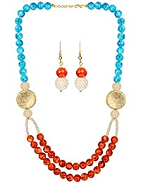 AccessHer Stylish Blue And Red Textured Beads Necklace Set For Women