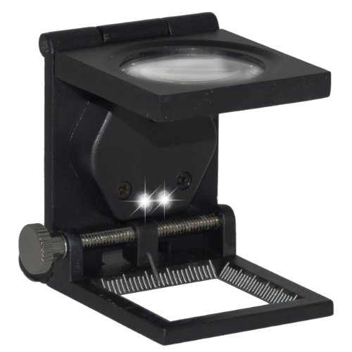 Hochwertige 5-fach Stand-lupe mit LED-Beleuchtung - Zusammenklappbar inkl. Ledertasche