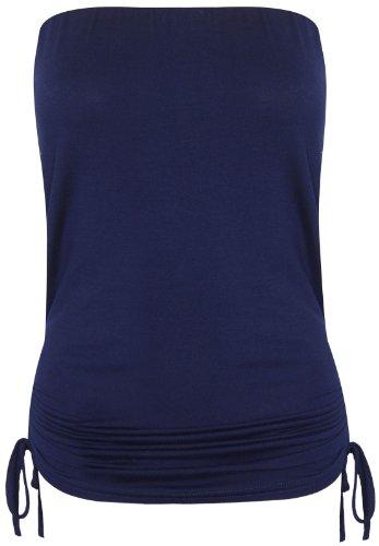Purple Hanger - Haut Bandeau Extensible - Sans Manche - Taille Elastiquée - Froncée Pour Les Femmes Bleu Marine