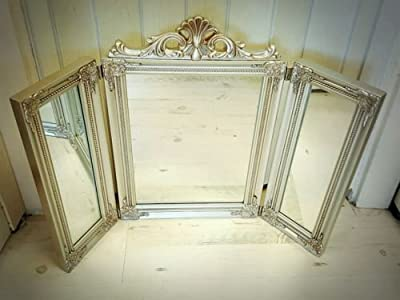 Silver antique pale gold Venetian Parisian Trifold Dressing Table Mirror chic