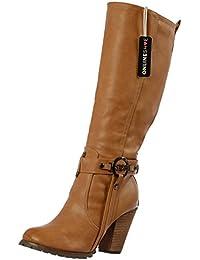 Onlineshoe señoras de las mujeres altas rodilla Botas altas del motorista con las correas y tacón - Negro, beige, marrón