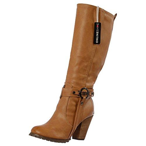 Onlineshoe Damen Knie Hoch Stiefel UK8 - Eu41 - Us10 - Au9 Tan Mit Schnalle -