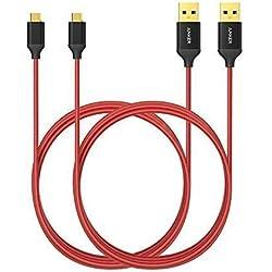Anker Micro USB Kabel 2-Pack 1.8M Nylon Ladekabel mit vergoldeten Steckern für Samsung, HTC, Nokia, Nexus, Sony und weitere Android Smartphones (Rot)