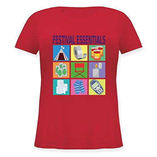 Statement Shirts - Festival essentials basics - Lockeres Damen-Shirt in großen Größen mit Rundhalsausschnitt Rot