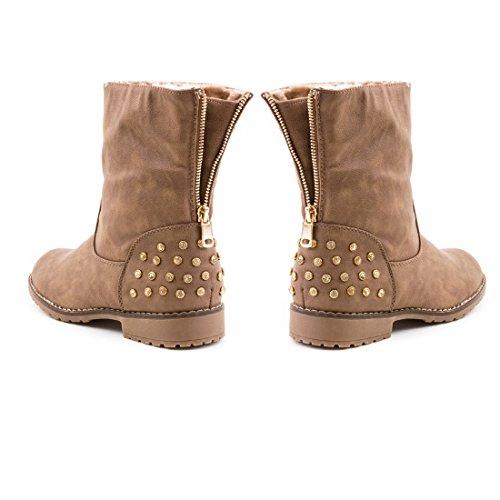 Damen Stiefel Biker Ankle Boots mit Nieten Strass in hochwertiger Lederoptik Khaki Paris