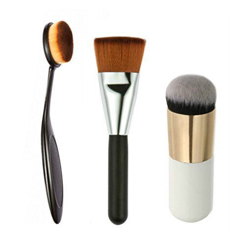 Generic 3 in 1 Makeup Brush Set Oval Toothbrush Foundation Brush + Flat Head Powder Brush + Round Top Blush Brushes