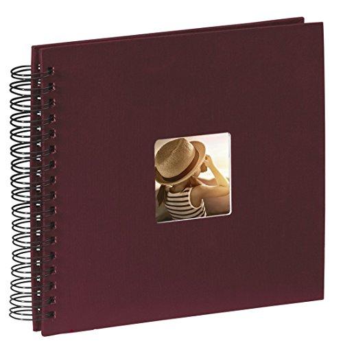 Hama Fine Art - Álbum de fotos, 50 páginas negras (25 hojas), álbum con espiral, 28 x 24cm, con compartimento para insertar foto, borgoña
