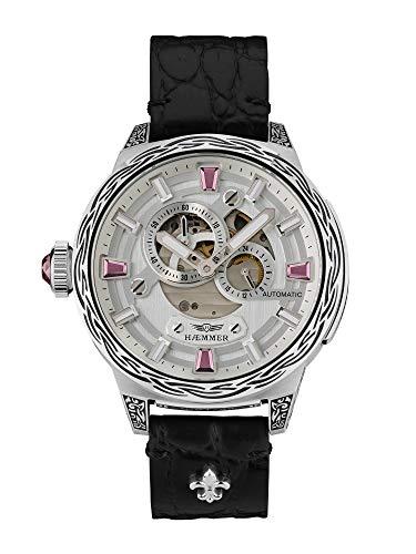 HÆMMER Pink Passion Skeleton Automatikuhr Damen aus Edelstahl | Exklusiv Limitierte Damenuhr mit Kalbsleder Armband | Luxus-Uhr mit Inkgraved veredeltem Gehäuse