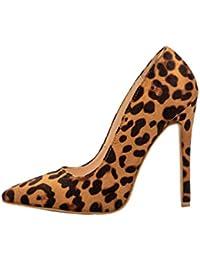 cb32d93247d0f Las Mujeres Bombas de Leopardo Zapatos de tacón Casual de Oficina señora  Punta de los pies