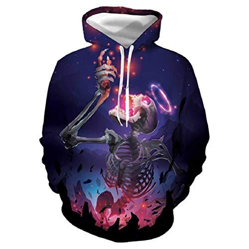 Bluelucon Herren Sweatshirt Halloween Thema Sweatshirt Skeleton 3D Druck Kapuzenpullover Horror Kostüm Lustige Festival Party Kleidung Slim Fit Horror Kapuze Hoodie Galaxy (Erschreckt Kostüm)