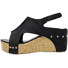 f0921a0b96 VJGOAL Damen Sandalen, Damen Mode Roman Sommer Runde Zehe Breathable Rivet  Strand Boho Casual Wedges
