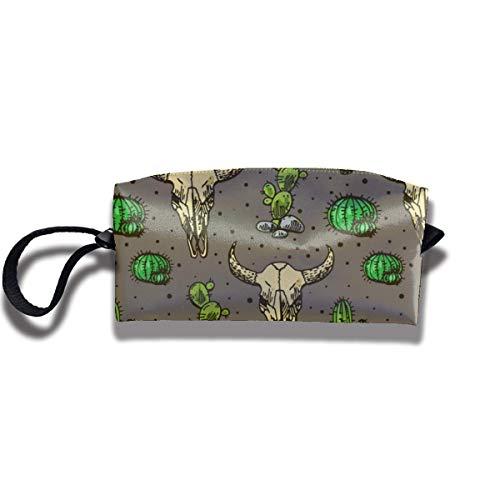 Calavera de toro y lindo lienzo de cactus viaje bolsa de maquillaje Bolso de la bolsa Bolsa de almacenamiento grande Bolsa