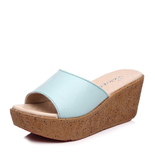 Estate Sandali 7.0 cm Scarpe estive pattini spessi pistoni inferiori Spiaggia sandali col tacco alto sandali (blu / nero / bianco) Colore / formato facoltativo Blu