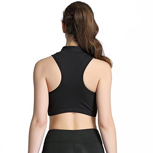Loveble Femmes Haut-col MNon-câblé Sport Soutien-gorge Avant Fermeture éclair Pleine Couleur Sport Gilet Noir