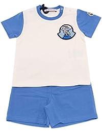 da0b915df1a5 MONCLER 7674Y Completo Bimbo Boy Cotton White Blue t-Shirt Bermuda Short
