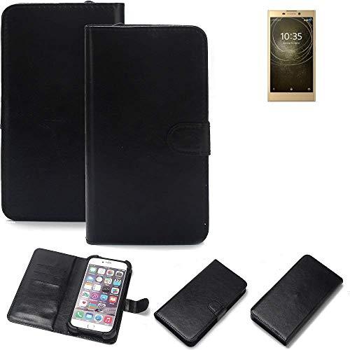 K-S-Trade Wallet Case Handyhülle für Sony Xperia L2 Dual-SIM Schutz Hülle Smartphone Flip Cover Flipstyle Tasche Schutzhülle Flipcover Slim Bumper schwarz, 1x